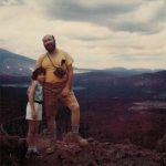 Chip off the old rock? Deb with her Earth Science teacher dad at the top of Sunset Crater Volcano in Arizona, Summer 196?. Photo taken by a kind fellow hiker with a Polaroid camera.