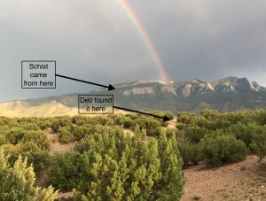Sandia Rainbow with Schist Location
