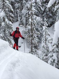 Nancy skiing in Yellowstone